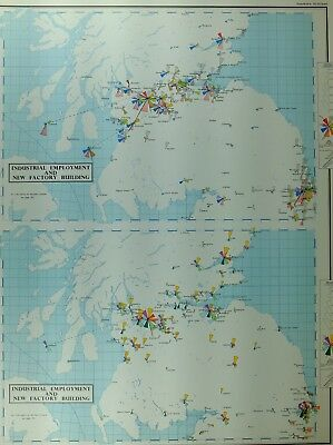 Vintage Large Map Southern Scotland Industrial Employment New Factory Building
