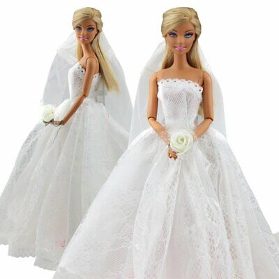 Dolls Dress Clothes For Doll White Bridal dress wedding Gown flower UK
