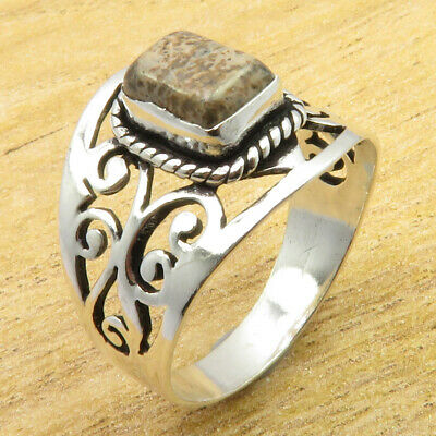 Rare Picture Jasper 925 Silver Overlay CELTIC Ring Size 9.75 JEWELRY STORE NEW