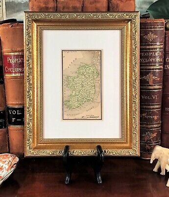 Framed Original 1887 Antique Map IRELAND Dublin Swords Galway Cork Irish History