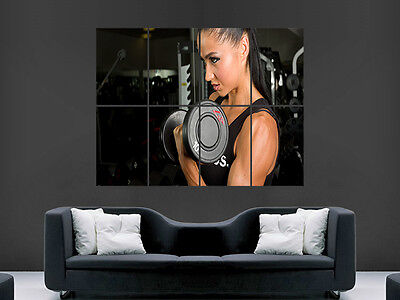 Hot Sexy Girl Gym Weight Dumbells  Giant Art Print Poster Picture