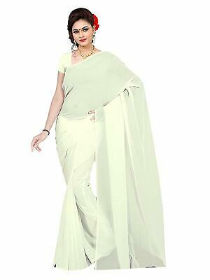 64059e60bc Indian Traditional Women's Solid Plain Georgette saree With Unstitched  Blouse.