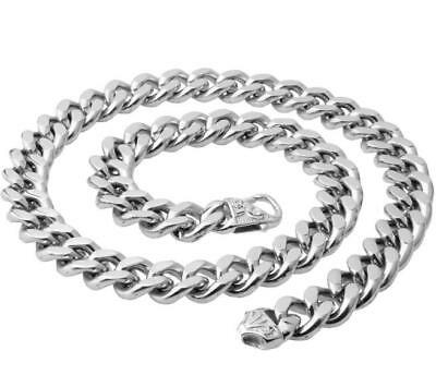 Heavy 15mm 24'' Mens Stainless Steel Large Cuban Curb Link-chain Necklace Silver