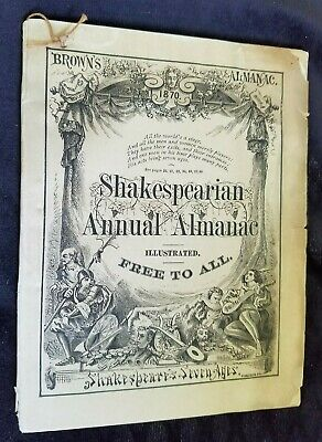 1870 Brown's Shakespearian Almanac Quack Medicine Dr Phelps Brown Jersey City NJ