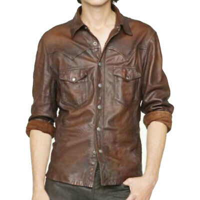 Mens Stylish Slim Fit Casual Vintage Brown Leather Shirt Jacket New