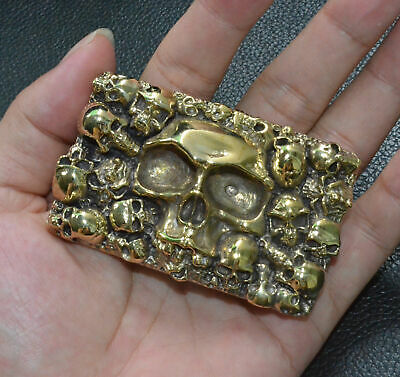 Handmade Pure Brass Copper casting Human Skull Square Belt Buckle Punk Personal