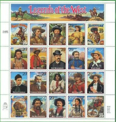 Legends of the West sheet of twenty 29 cent stamps Scott 2869, mintnever hinged