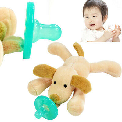 Infant Babys Soothies Dummy Silicone Pacifier with Cuddly Plush Animal Harmeless