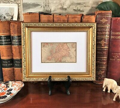 Framed Original 1887 Antique Map EUROPE Germany Italy Ireland Scotland Russia