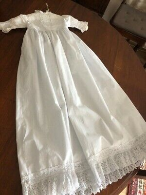 Antique Cotton Lace Childs Christening Gown Vintage Night dress