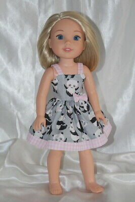 Dress Outfit fits 14inch American Girl Wellie Wishers Doll Clothes Hearts Panda