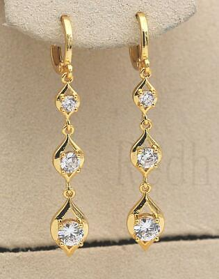 18K Gold Filled Earrings Square Gems Topaz Hollow Ear Stud Hoop Prom Party HB