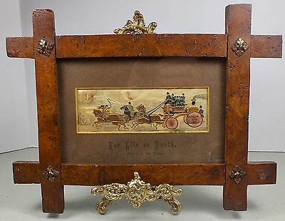 Early Silk Embroidery Burl Criss Cross Frame ~Horse Drawn London Firemen Brigade