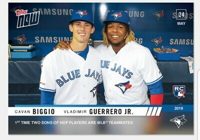 Cavan Biggio Vladimir Guerrero Jr. RC 2019 Topps NOW 1st Time HOF Sons Teammates