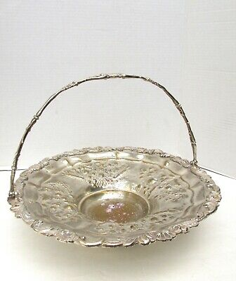 Vtg Silver Plated Large Floral Basket With Handle Worn Unmarked
