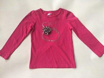 Crazy 8 by Gymboree Pink Sequined Long Sleeve Scoop Neck Cotton Top size S 5-6