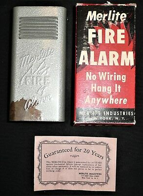 VINTAGE 1950s MERLITE FIRE ALARM IN BOX NOS GREAT COLOR FOR DISPLAY