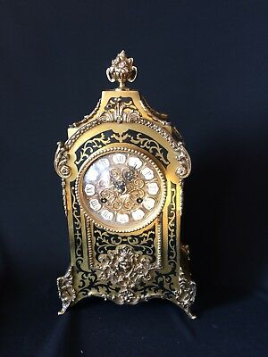 STUNNING PETITE ANTIQUE FRENCH FAUX TORTOISE SHELL STRIKING MANTLE CLOCK c1880