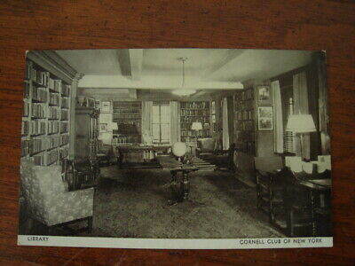 Old Original Vintage Photo Postcard Cornell Club Library New York City Ny