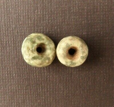 Ancient Pre-Columbian JADEITE BEADS MATCHED PAIR  12mm x 7mm (4 grams total)