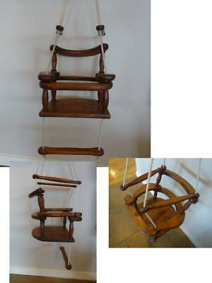 Vintage Solid Wood Pieces Rope Hanging Child's Chair Seat Indoor Outdoors
