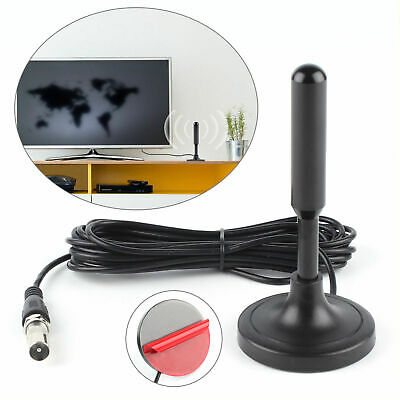 New Black Portable TV Antenna Indoor & Outdoor Digital HD Freeview Aerial Ariel