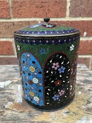 Chinese cloisonné canister and cover decorated with panels of flowers Lidded