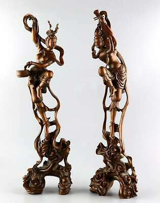 Collectable China Antique Boxwood Hand Carve Fairy A Pair Delicate Great Statue