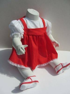 4 piece 60's vintage red white dress shoes baby 0-6 months dress rubber pants fr