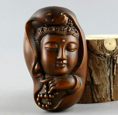 Collectable China Antique Boxwood Hand Carve Guan Yin Moral Bring Luck Pendant
