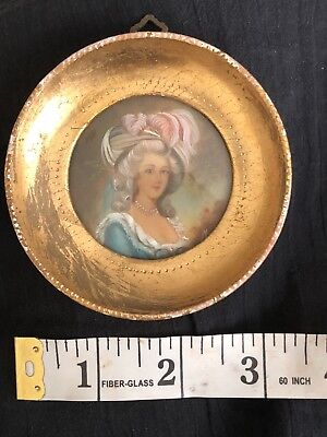 Antiques Antique Handpainted Miniature With Bronze Frame Portrait Punctual Timing