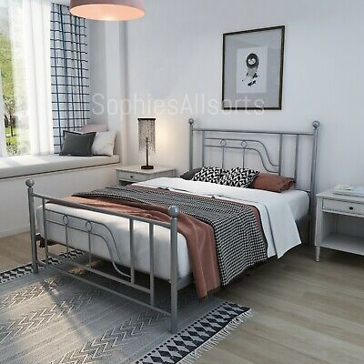 NEW Silver Metal 4ft6 Double Art Deco Inspired Design Strong Bed Frame