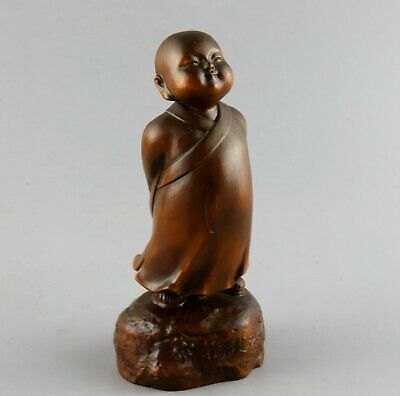 AAA Collectable China Antique Boxwood Hand Carve Lovely Little Monk Vivid Statue