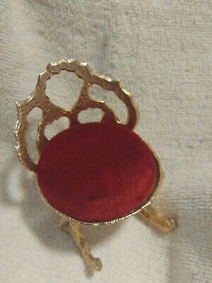 Vintage Doll House Victorian Gold Metal Rocking chair Pin Cushion VIP C