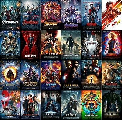All 24 Marvel MCU Movie Posters Avengers Endgame Thor Iron Man Hulk 11x17 13x19