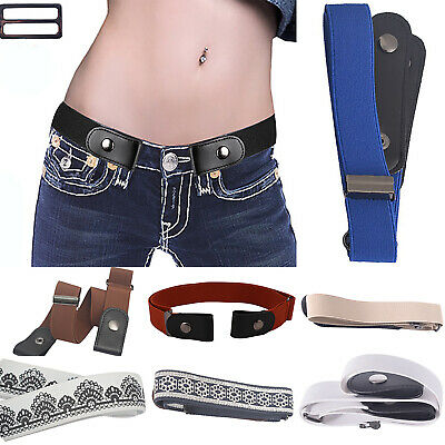 Womens Mens Buckle Free Stretchy Elastic Belts Invisible Belt No Bulge No Hassle