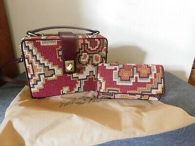 Patricia Nash Tauria Tapestry Box Satchel w/Leather Trim & Matching RFID Wallet
