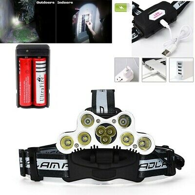 Bright 150000LM 9X T6 LED Headlamp Rechargeable Headlight Head Torch Battery Set