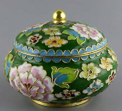 Collect China Antique Cloisonne Carved Bloomy Flower Delicate Noble Storage Jar