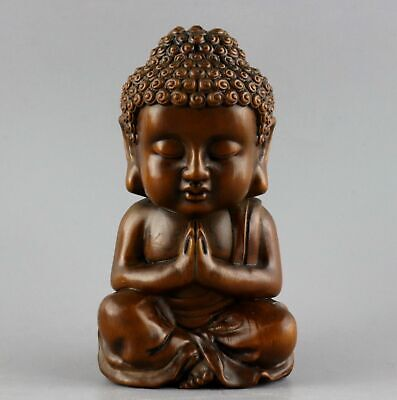 Collect China Antique Boxwood Hand Carve Auspicious Bring Luck Buddhism Statue