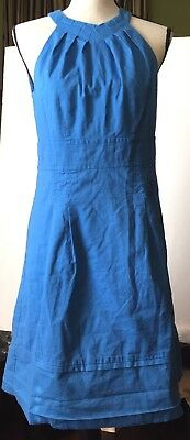 a51ee548975c LOFT Ann Taylor Womens Dress Blue Fit & Flare Halter Lined Pleated Size 6  EUC