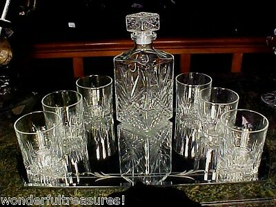 LST1! Glass Whiskey Whisky Decanter Set Tumblers Glasses ITALY UNUSUAL TUMBLERS!