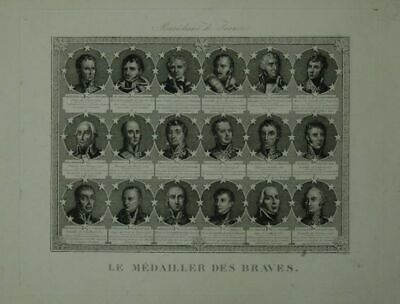 Marechaux de France le Medaliller Des Braves. Copperplate with 24 Portraits in M