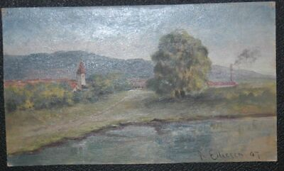 View of Reichenschwand an Der Pegnitz at Hersbruck. Oil Painting on Papier. S