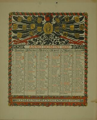 Calendar for 1920. One Sheet Printed on both Sides (January to June Or