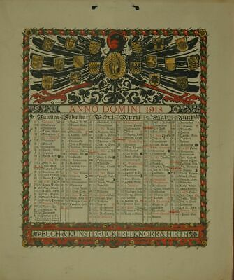 Calendar for 1918. One Sheet Printed on both Sides (January to June Or