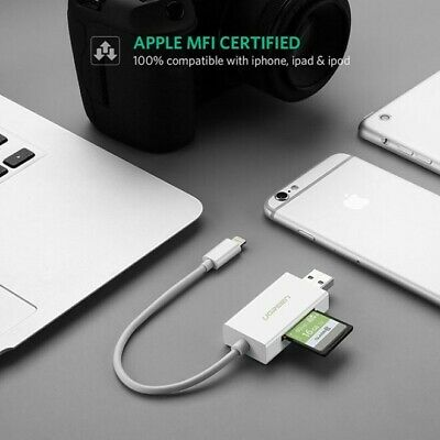 Ugreen OTG Lightning Adapter to SD Card and Micro SD TF Reader Apple iPad iPhone
