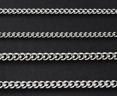 10pcs in bulk Stainless Steel Thin 2mm Cowboy Chain Link Necklace silver 18''