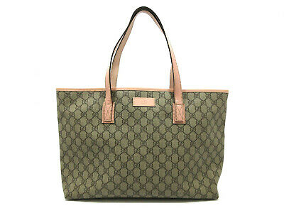 48fc763fbb42 AUTHENTIC GUCCI TOTE Bag 211137 PVC Leather Beige Pink 68824 - EUR ...