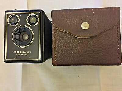 Vintage Kodak SIX-20 Brownie C Camera and sturdy leather case